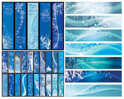 Blue Christmas vector banners background