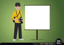 Photographer with a Presentation Screen