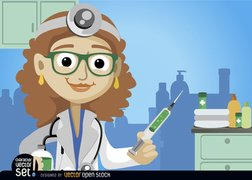 Female doctor with medicine injection