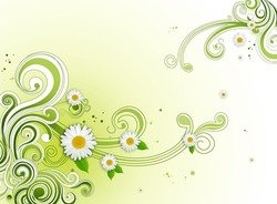 Green Floral Flower Background PSD