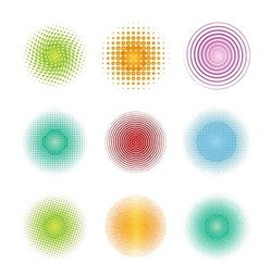 Colorful Halftone Circles Element Vector Set