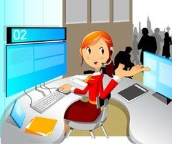 Girls and computer vector 21