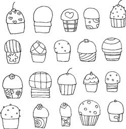 Freehand Vector Cupcakes