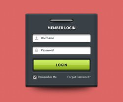 Member login form UI element