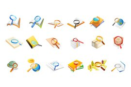 Office supplies magnifying glass material of the two vectors