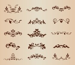 Set of Vector Floral Ornamental Elements for Design