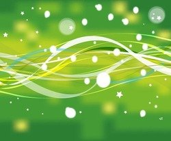 Abstract Green Nature Line with Stars