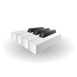 Glossy Piano Keys Icon in 3D