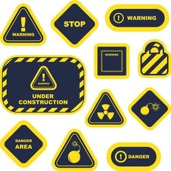 Yellow Warning Signs And Labels 02