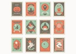 Free Halloween Post Stamp Vectors