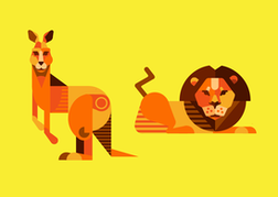 Lion Vector and Kangaroo