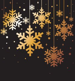 Golden Snowflakes Christmas Background Vector Elements (Free)