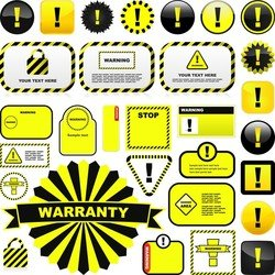 Yellow Warning Signs And Labels 01