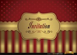 Wedding invitation red golden frame fringes