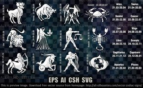 12 Vector zodiac signs