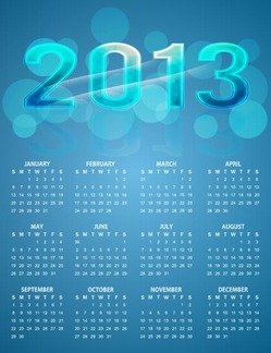 2013 Calendar Bright Colorful Blue