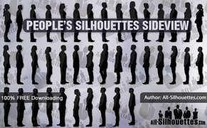 67 People silhouettes sideview