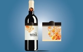Glossy Wine Bottle with Label