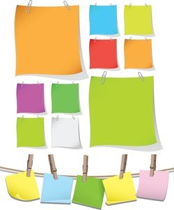Blank Colorful Papers With Clip
