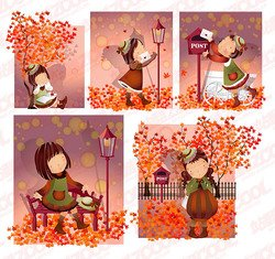 Autumn leaves theme (South Korea iClickart Four Seasons cute