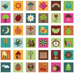 Nature Icons In Bright Colors Acorn Apple Bee