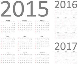 Calendar 2015, 2016 and 2017. Fully editable and scalable simple calendar vector template