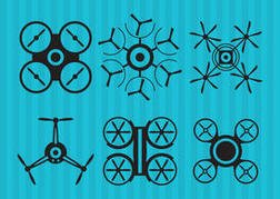 Black Drone Vector Icons