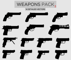 Free Weapons Vector Pack-3 Pistols
