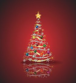 Abstract Christmas Tree with Ornaments