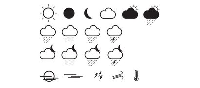 19 cloud weather icons set EPS illustrator