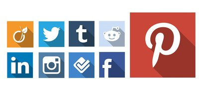 20 Long shadow social icons psd - pngs