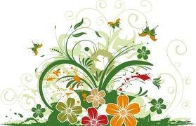 Abstract Floral with Butterfly Background