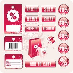 Discount Tag Vector Store Sales