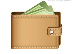 Money in wallet icon (PSD)