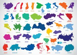 Europe Country Outline Map Vectors (Free)