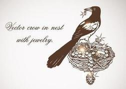 Free Vector Crow In Nest With Jewelry