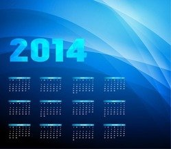 2014 Year Calendar on Blue Background
