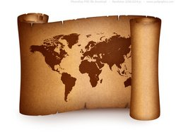 Old world map on vintage paper scroll