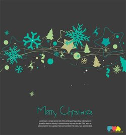 Merry Christmas Greeting Card Vector Illustration With Snowflakes