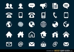 Contact Flat Icons Set