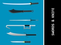 Knives And Swords Vectors, Japanese Sword Vector, Samurai Vector Ai, Kungfu Sword Ai, Kill Bill Samurai