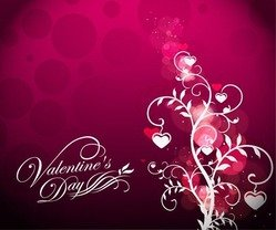 Valentine's Day Floral on Red Background
