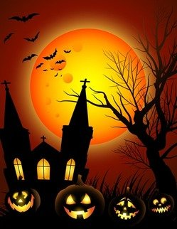 Halloween Night with Black Castle on The Moon Background Illustration