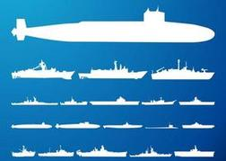 Submarines And Ships Silhouettes