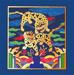 Classical Chinese lucky tiger map