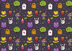 Free vector Alice in Wonderland seamless pattern