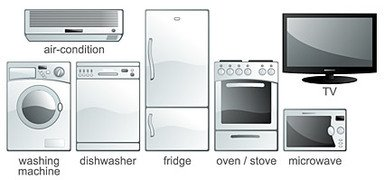 Vector material commonly used household electrical appliance