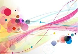 Abstract Colourful Circle Wave Line Background