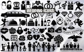 63 Wedding icons symbols