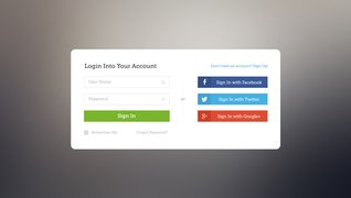 Facebook, Twitter, Google+ Login Page